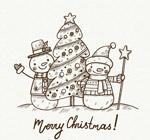 手绘圣诞树和雪人