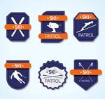 蓝色滑雪标签