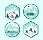 冬季滑雪标签矢量