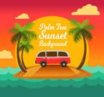 棕榈树和度假车