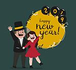 新年招手情侣贺卡
