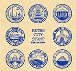 复古旅游城市邮戳