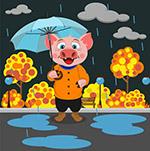 雨中撑伞的猪