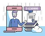 电子学习插画