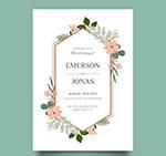 花卉婚礼邀请卡片