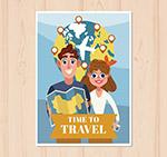 旅行男女卡片