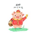春节彩绘小猪