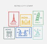 复古城市邮票