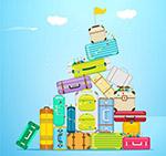 堆起的行李箱