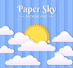 纸质云朵中的太阳