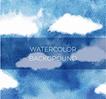水彩绘蓝天云朵