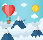 云上的热气球剪贴画