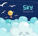 可爱热气球和鸟群