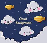 夜空中的云朵和飞艇