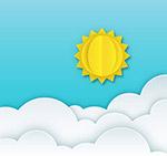 纸质云层上的太阳