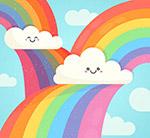 彩虹和笑脸云朵