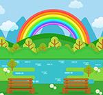 郊外河边彩虹风景