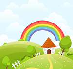 外房屋和彩虹风景