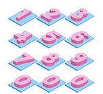 立体粉色数字
