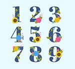 彩色花卉数字