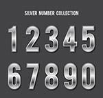 银色金属质感数字
