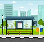 整洁城市公交车站