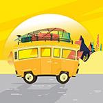 黄色旅行车矢量