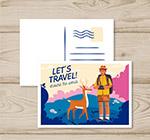 旅行男子和鹿明信片