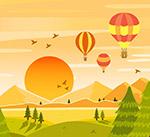 夕阳下的热气球