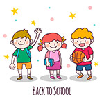 可爱返校儿童