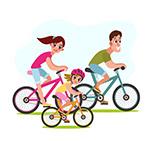 骑单车的三口之家