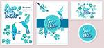 蓝色鸟婚礼卡片