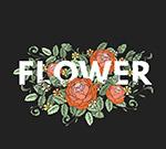 玫瑰花装饰花卉艺术字