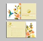 蜂鸟和花卉商务名片
