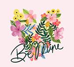 彩绘花卉爱的艺术字