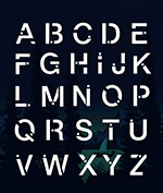 白色大写字母艺术字