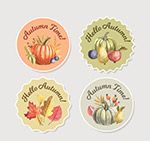 彩绘秋季元素标签