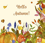水彩绘秋季花草