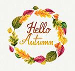 你好秋季树叶花环