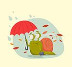 秋季撑伞的蜗牛