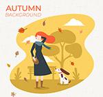 秋季女子和宠物狗