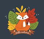秋季树叶和狐狸