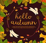 秋季兔子和树叶