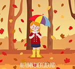 树林里撑伞的女孩
