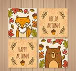 可爱秋季动物卡片