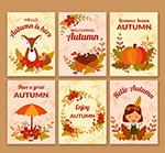 可爱秋季祝福卡片
