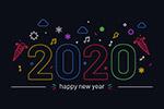 彩色2020年艺术字