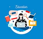 女子和教育元素
