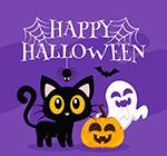 万圣节黑猫和幽灵