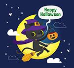 卡通万圣夜黑猫